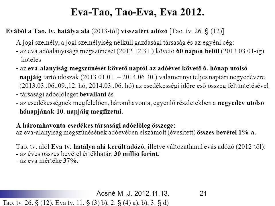 Eva-Tao, Tao-Eva, Eva 2012. Evából a Tao. tv. hatálya alá (2013-tól) visszatért adózó [Tao. tv. 26. § (12)]